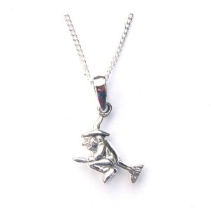 Stunning Silver Flying Witch Necklace.