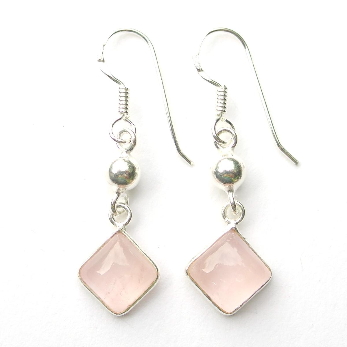 Rose Quartz Diamond Earrings