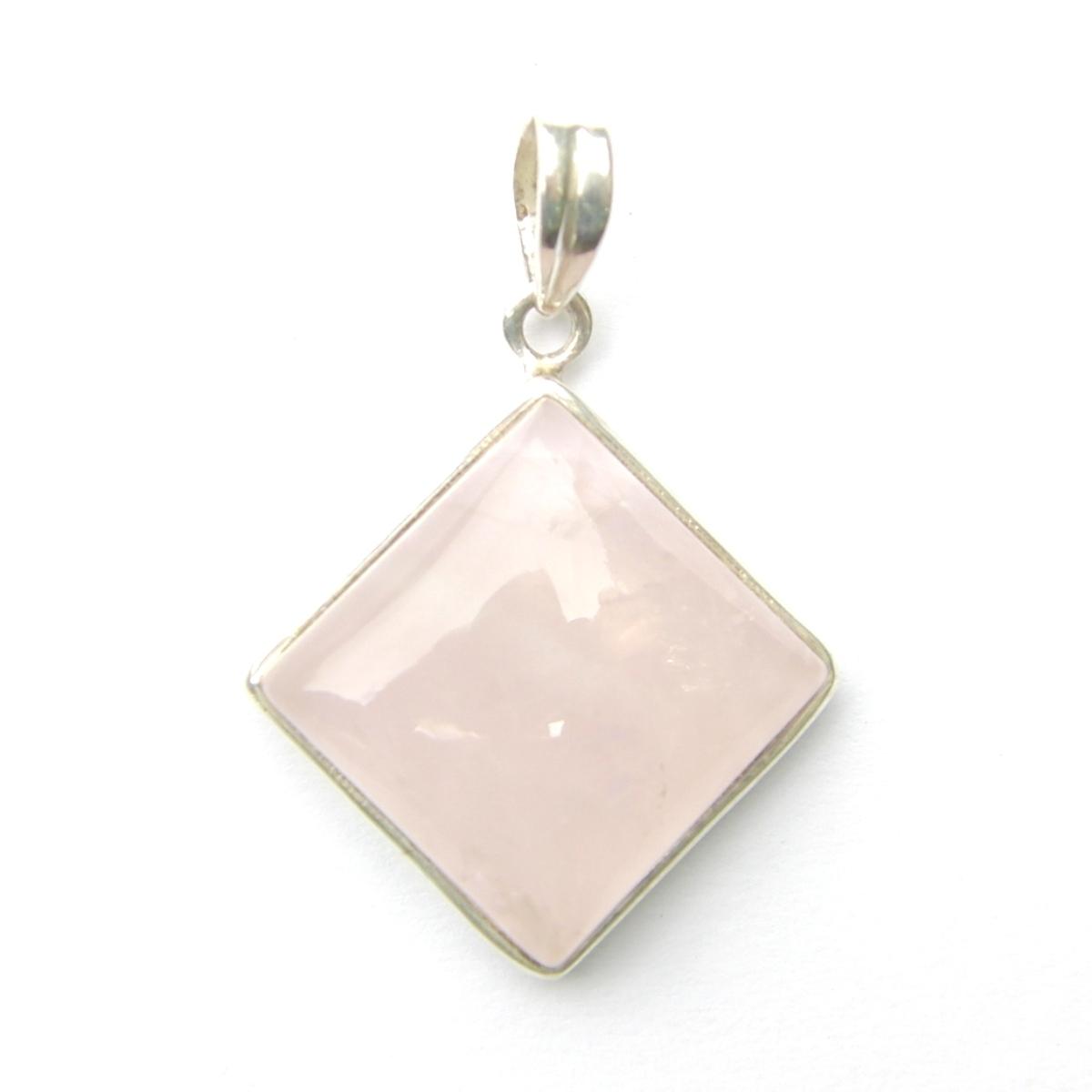 Rose Quartz Diamond Pendant.