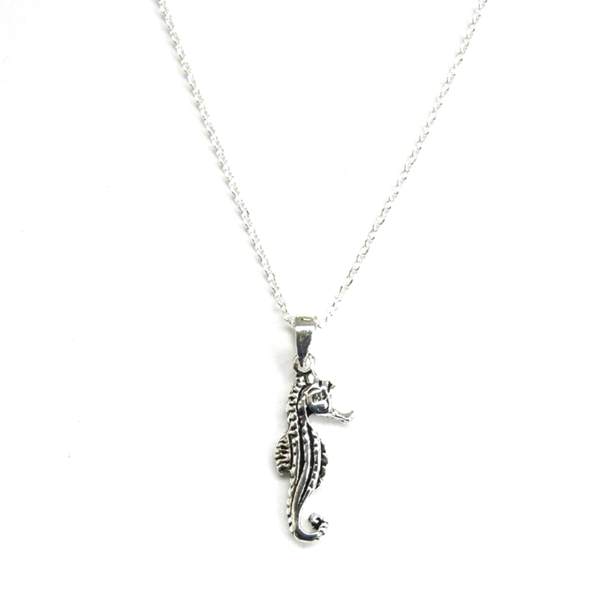 Dainty Silver Seahorse Necklace.