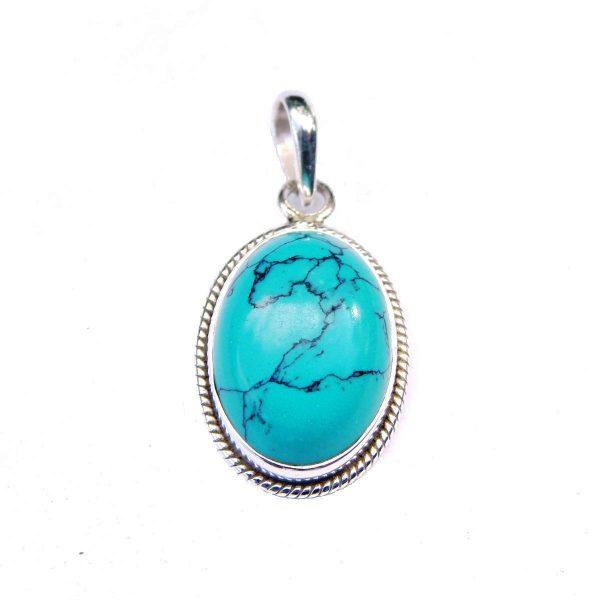 Turquoise Engraved Edge Pendant