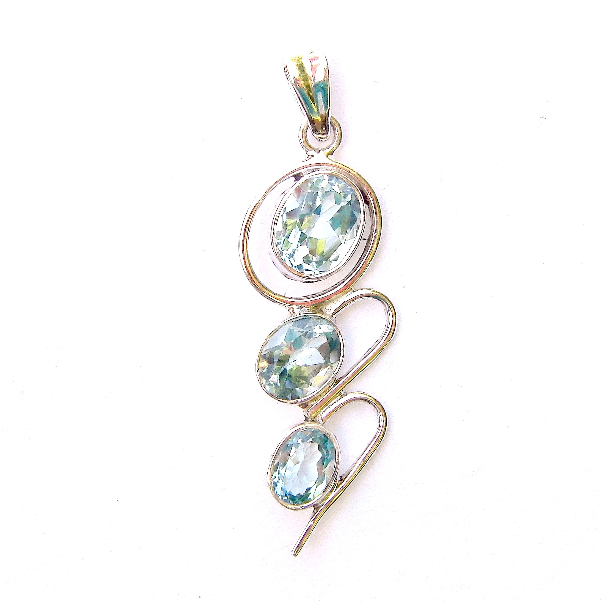 Blue Topaz Faceted 3 Cab Pendant.