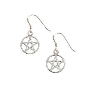 Pentagram Silver Earrings