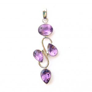 Faceted Amethyst 4 Cab Pendant.