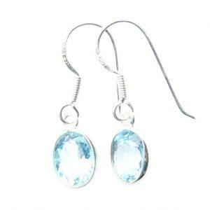Blue Topaz Faceted Oval Earrings.
