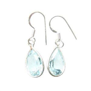 Blue Topaz Faceted Earrings