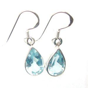 faceted Blue Topaz Teardrop Earrings.