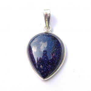 Blue Goldstone Inverted Teardrop Pendant.