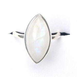 Rainbow Moonstone Marquise Ring