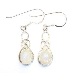Moonstone Oval Knot Earrings