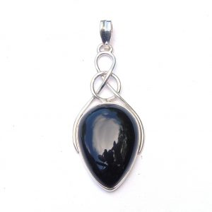 X Large Black Onyx Celtic Knot Pendant.