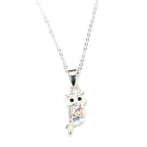 Pretty Ab Crystal Owl Necklace