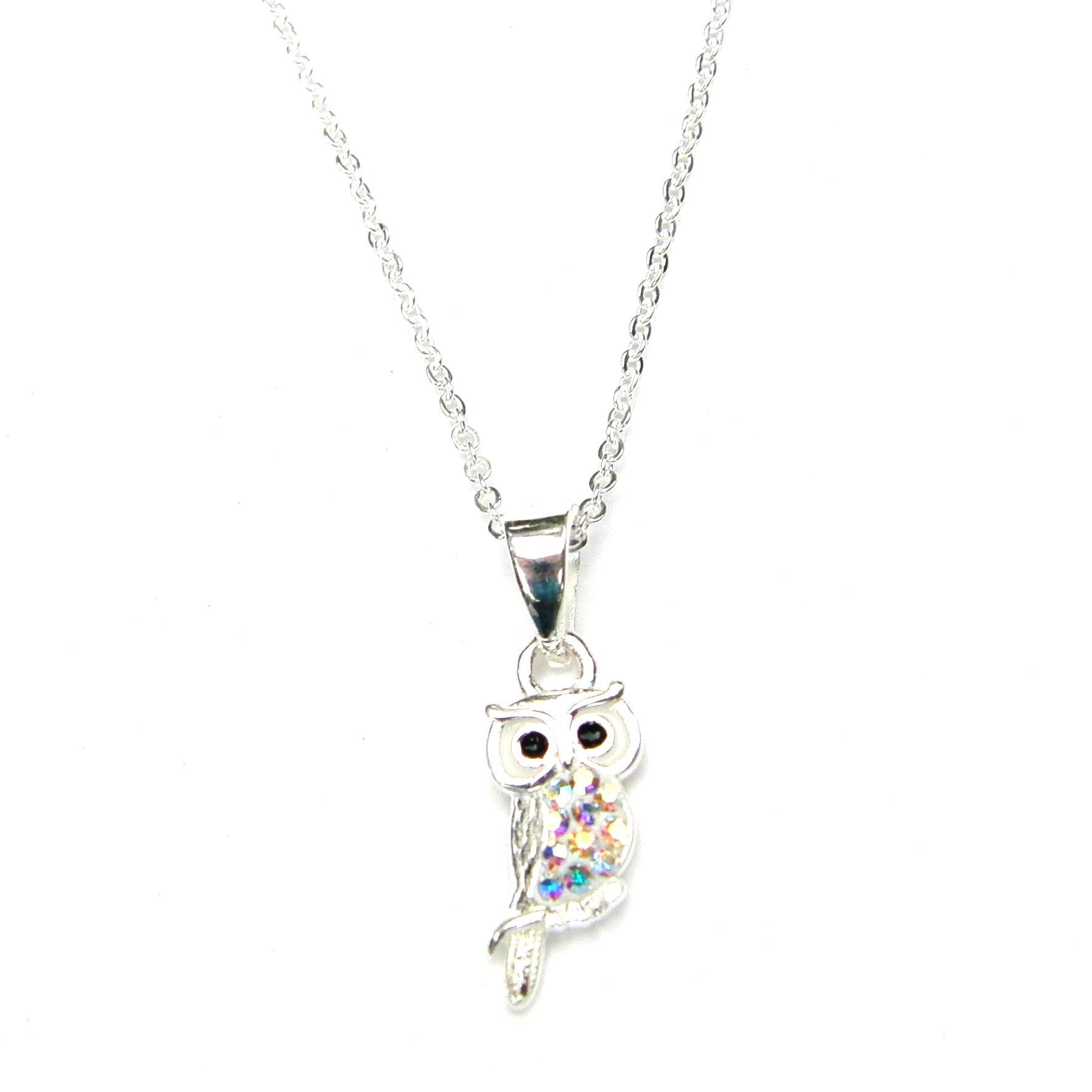 Pretty Ab Crystal Owl Necklace