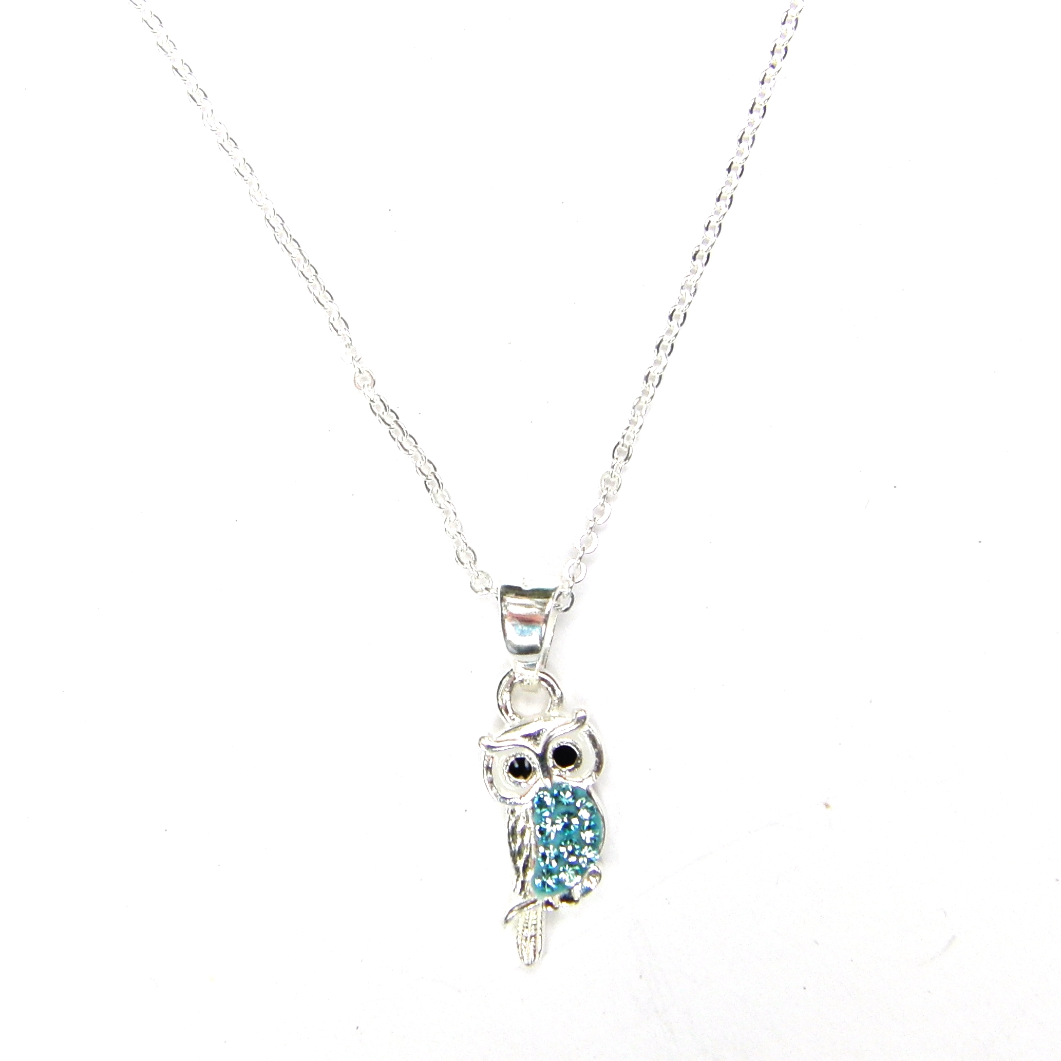 Pretty Aqua Crystal Owl Necklace