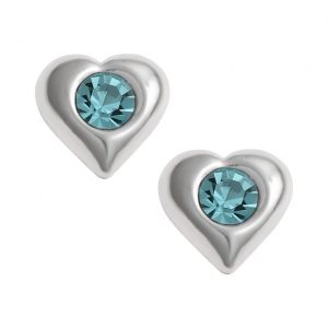 Pretty Aqua Crystal Heart Earrings