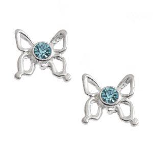 Pretty Aqua Butterfly Studs