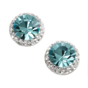Pretty Aqua Crystal Studs