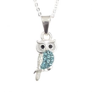 Pretty Aqua Owl Pendant