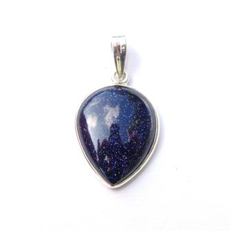 Dainty Blue Goldstone Inverted Teardrop Pendant.