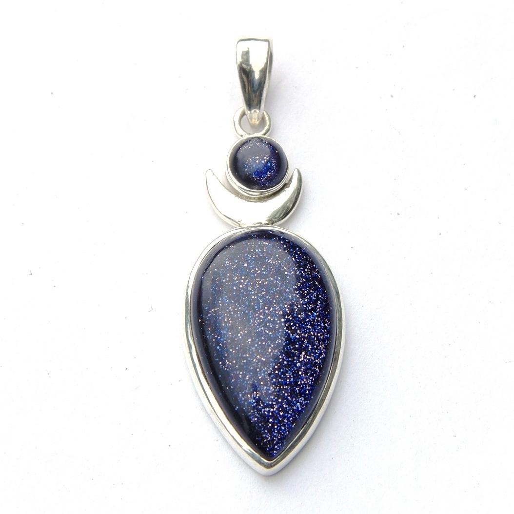 Blue Goldstone Large Goddess Pendant.