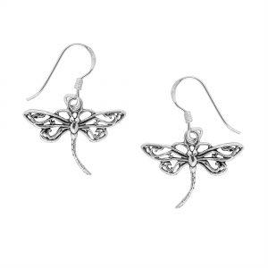 Beautiful Silver Dragonfly Earrings