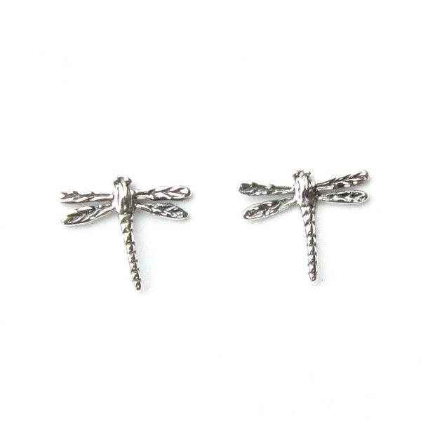 Beautiful Silver Dragonfly Studs