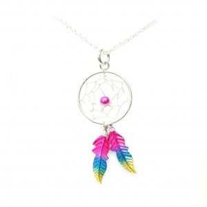 Beautiful Rainbow Dreamcatcher Necklace.