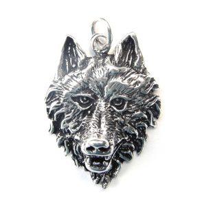 Large 3d Wolf Head Pendant.