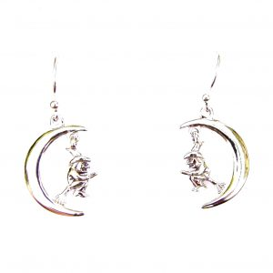 Witch on Moon Earrings.
