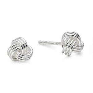 Beautiful Dainty Silver Knot Studs