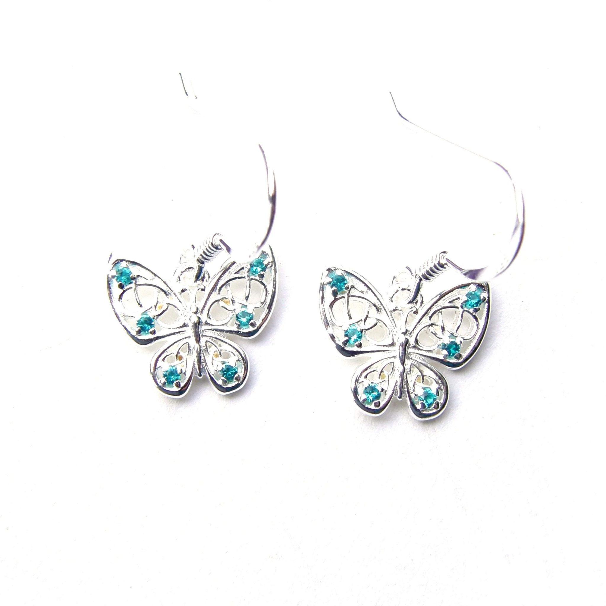 Beautiful Aqua Butterfly Earrings