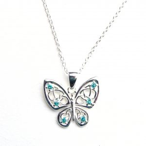 Beautiful Aqua Butterfly Necklace