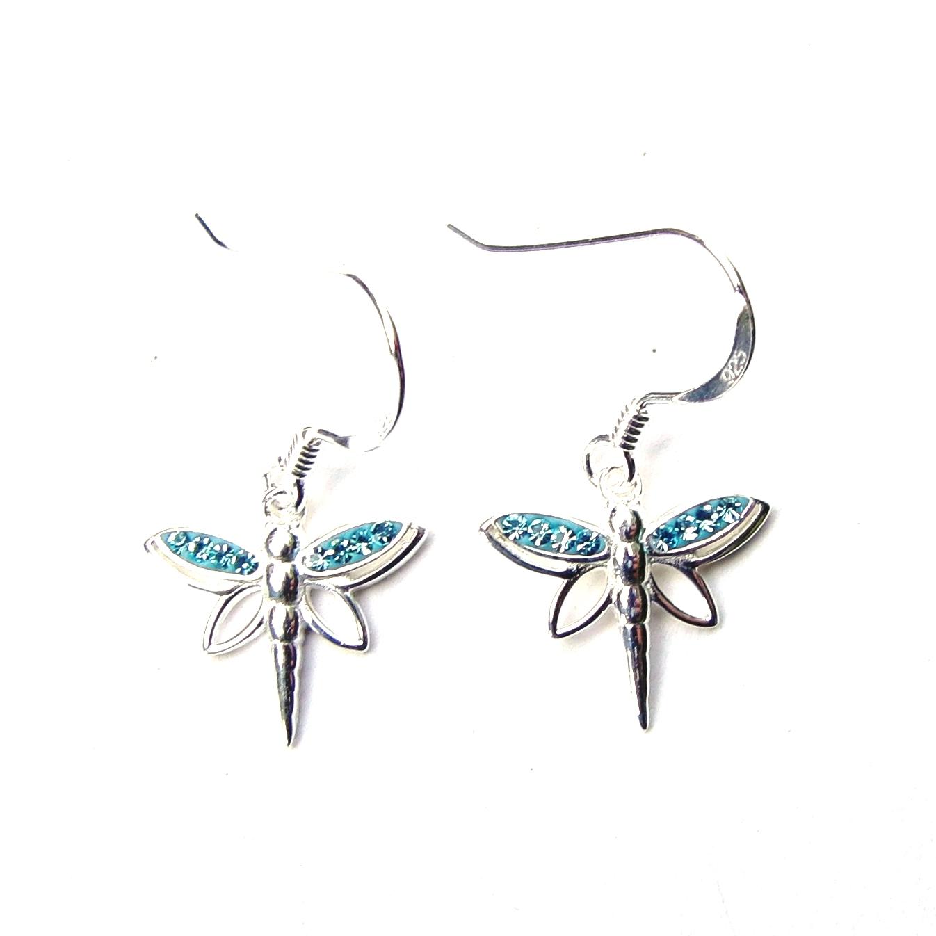 Beautiful Aqua Dragonfly Earrings