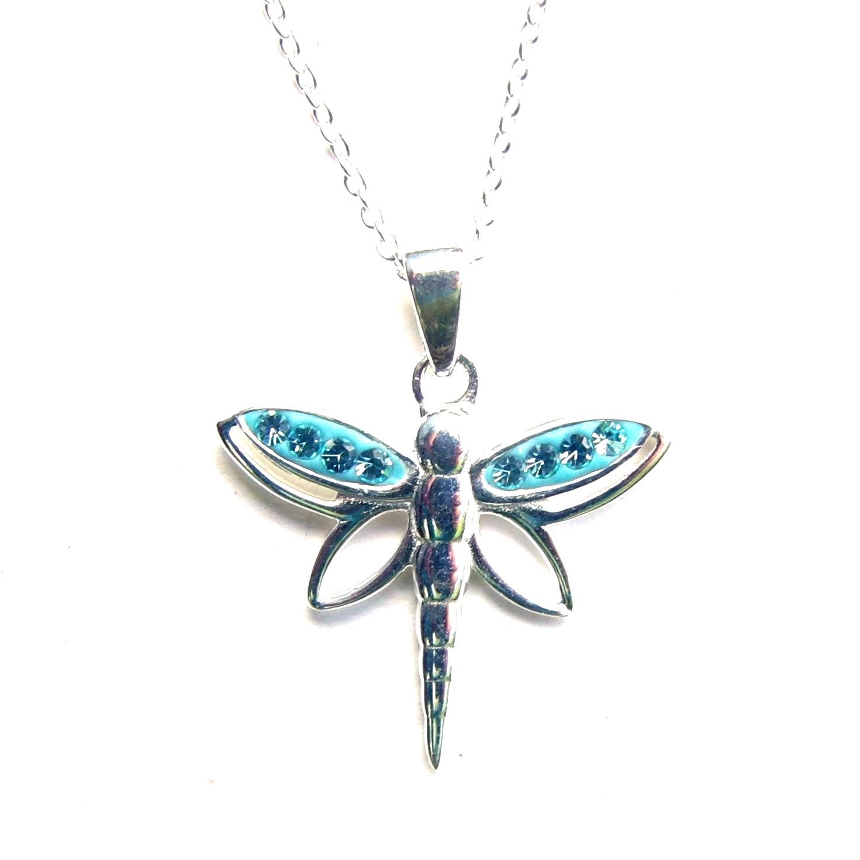 Beautiful Aqua Dragonfly Necklace.