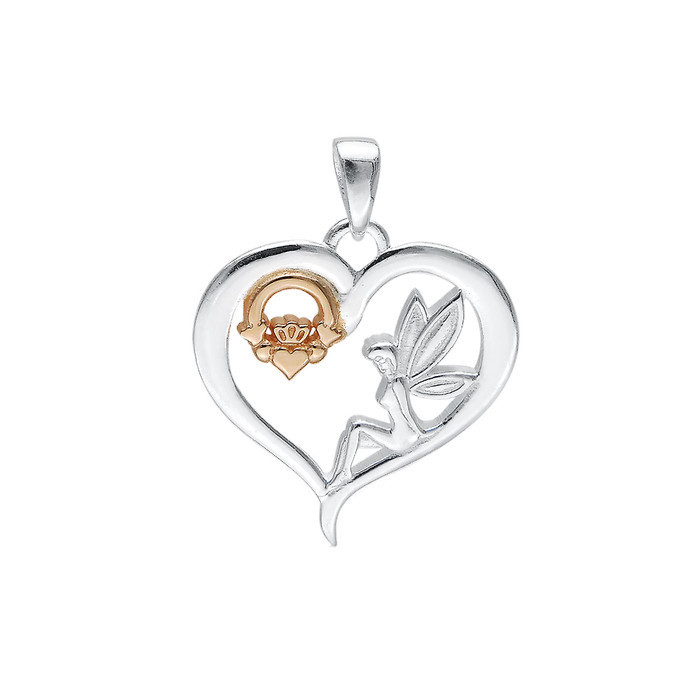 Celtic Fairy Claddagh Heart Pendant.