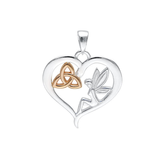 Celtic Fairy Triquetra Heart Pendant.