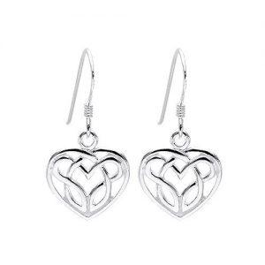 Lovely Silver Celtic Heart Earrings.