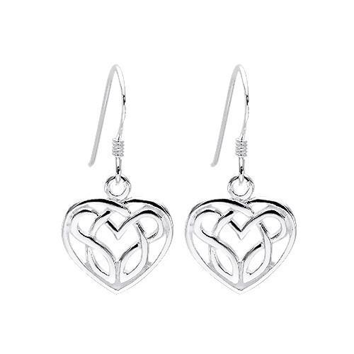 Lovely Silver Celtic Heart Earrings
