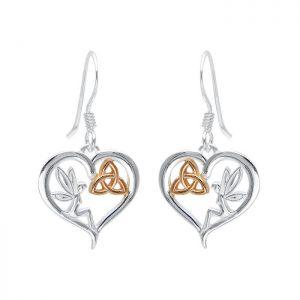 Celtic Fairy Trinity Heart Earrings