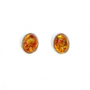 Beautiful Amber Oval Studs