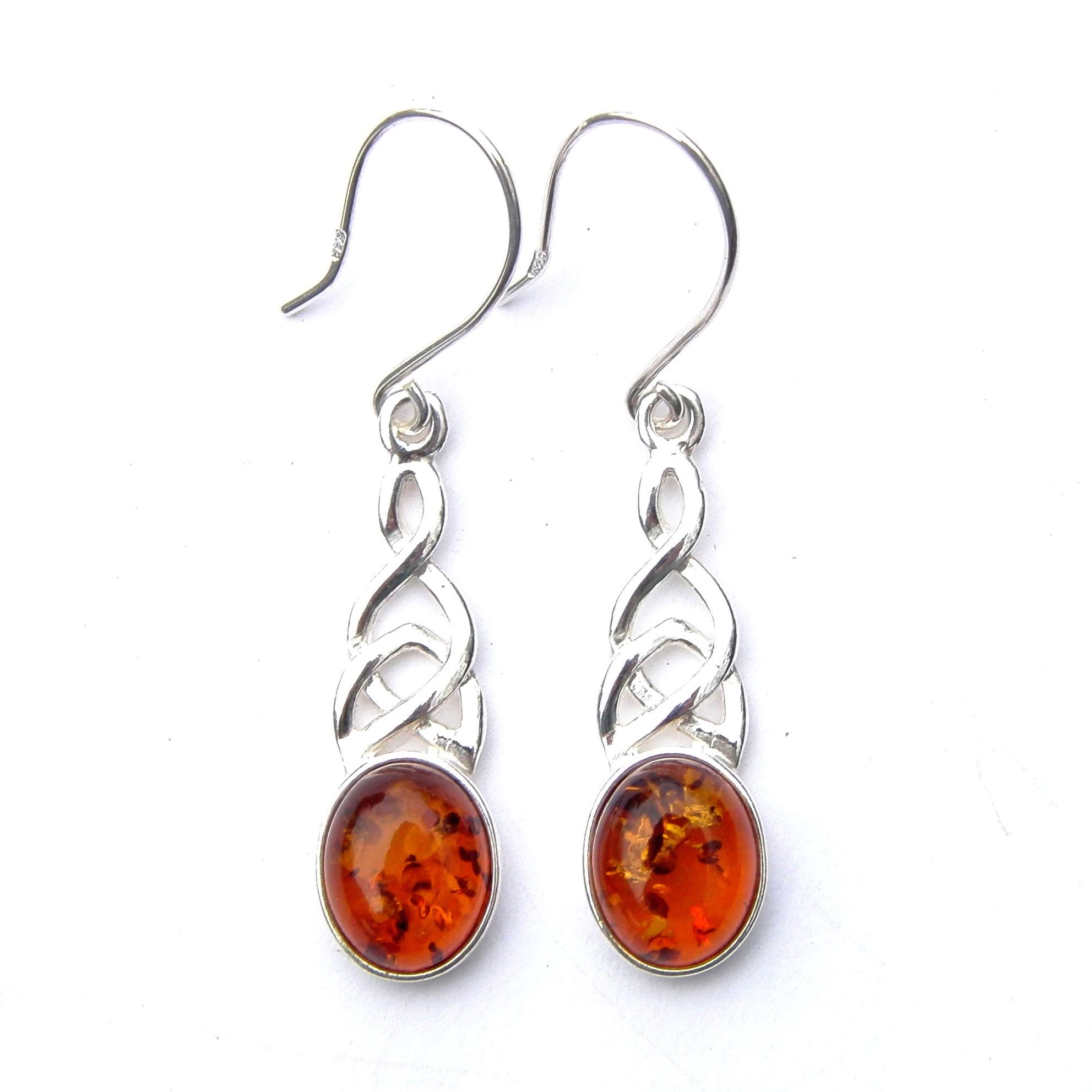 Beautiful Amber Celtic Knot Earrings