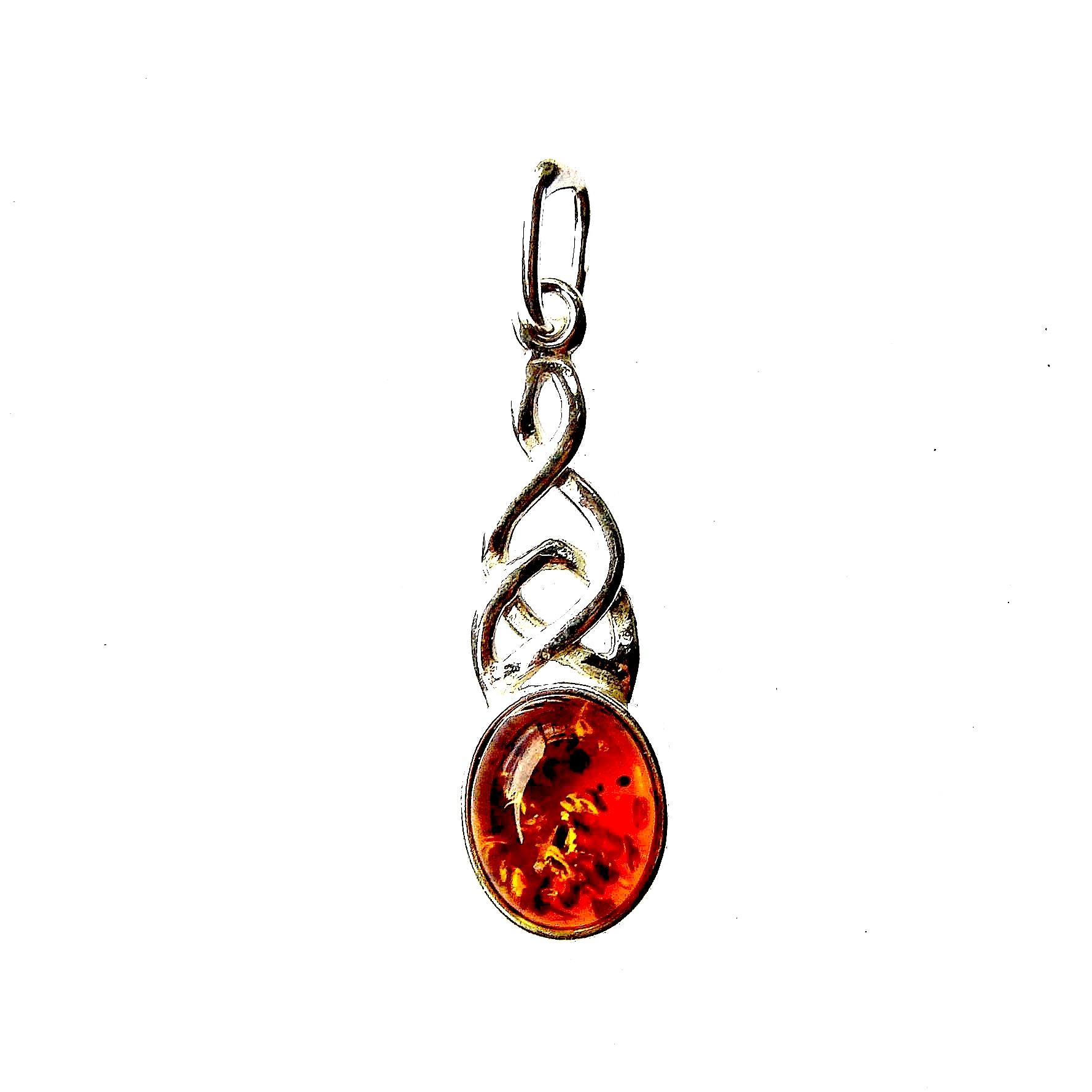 Beautiful Amber Celtic Knot Pendant