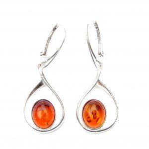 Beautiful Large Amber Oval Earrings