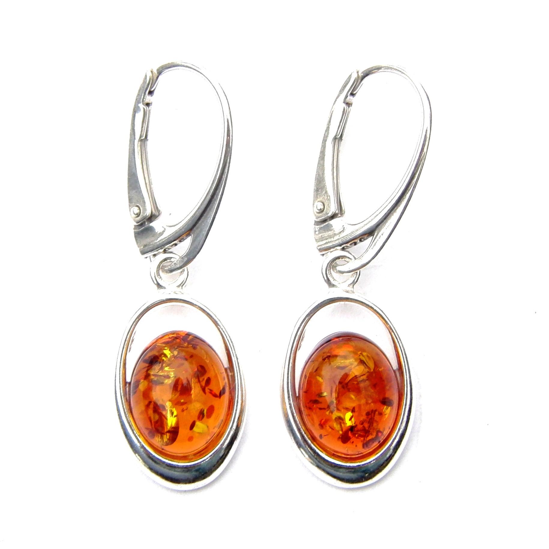 Beautiful Amber Oval Earrings
