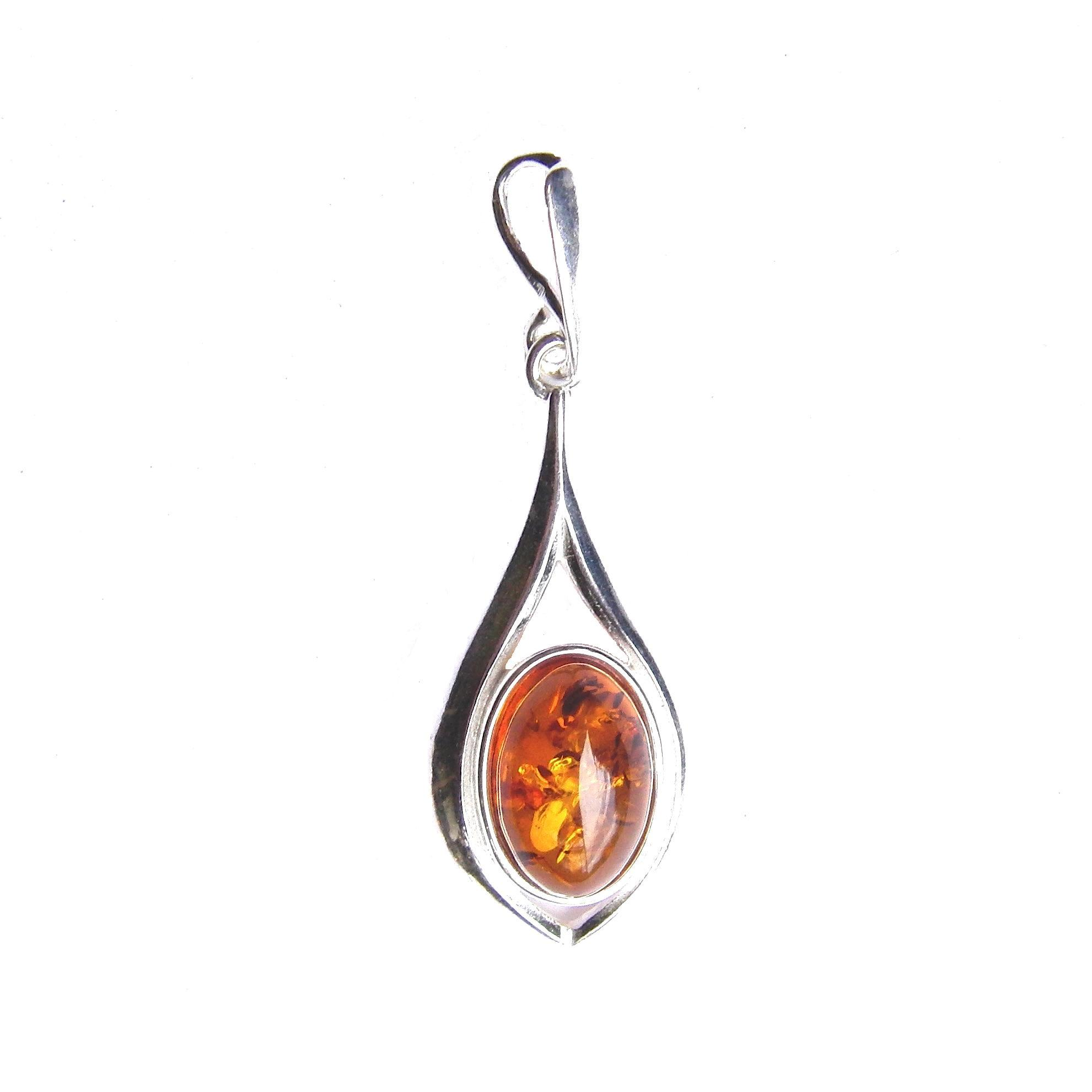 Amber Oval Cabochon Pendant