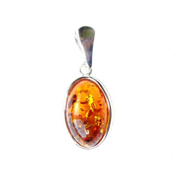 Pretty Dainty Amber Oval Pendant