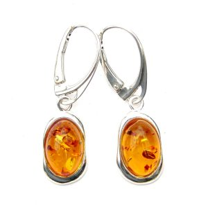 Stunning Large Oval Amber Cab Earrings