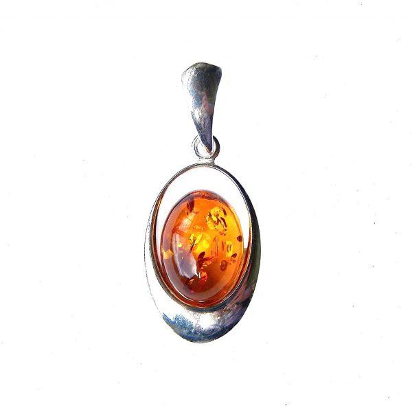 Beautiful Dainty Amber Oval Pendant