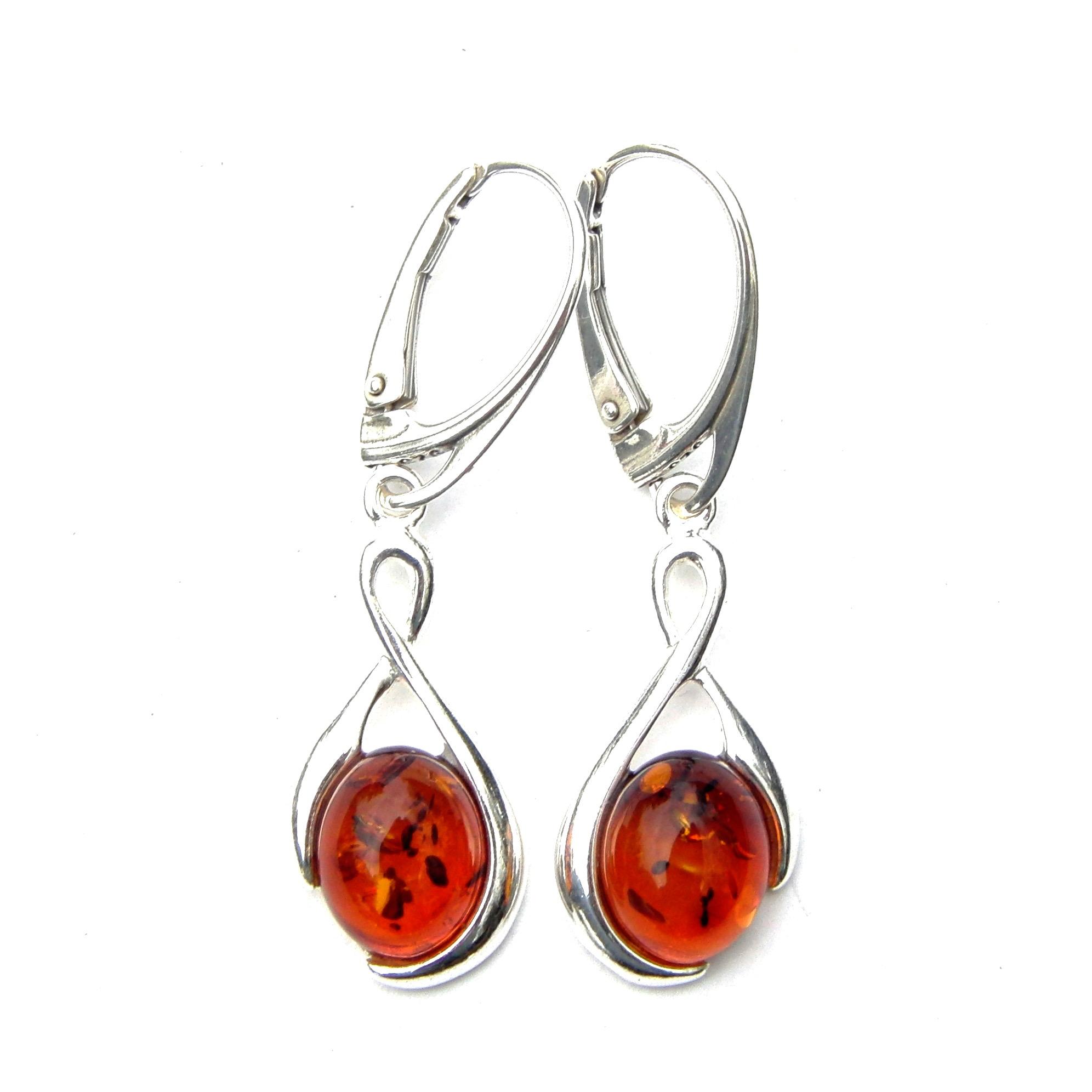 Beautiful Large Amber Dangling Earrings