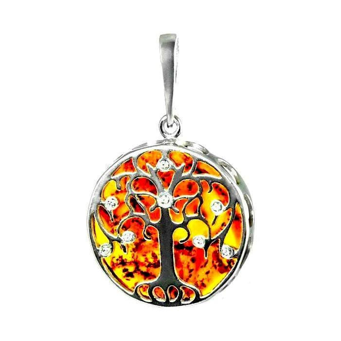 Amber Medium Tree of Life Pendant